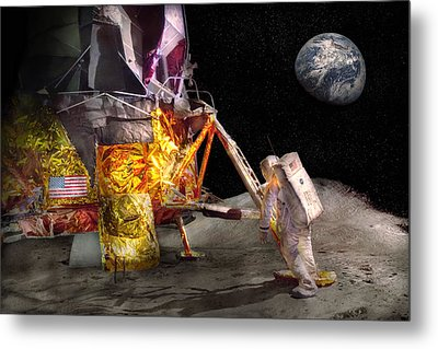 Astronaut - One Small Step Metal Print by Mike Savad