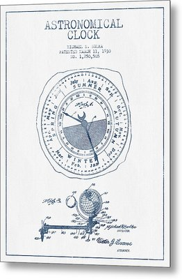 Astronomical Clock Patent From 1930  - Blue Ink Metal Print by Aged Pixel