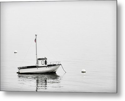 At Anchor Bar Harbor Maine Black And White Metal Print by Carol Leigh