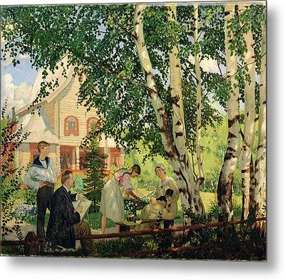 At Home, 1914-18 Oil On Canvas Metal Print by Boris Mikhailovich Kustodiev