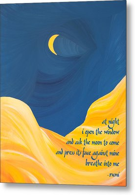 At Night With Rumi And The Moon Metal Print