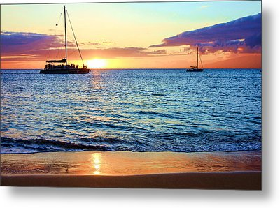 Metal Print featuring the photograph At Sea Sunset by Robert  Aycock