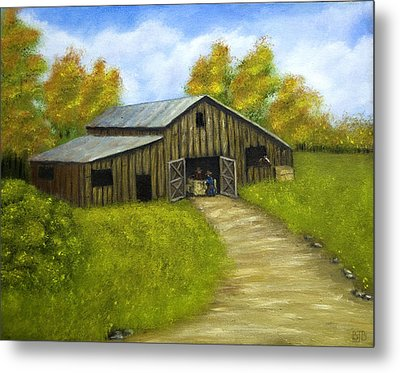 At The Barn Metal Print