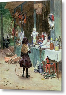 At The Champs Elysees Gardens Metal Print by Victor Gabriel Gilbert