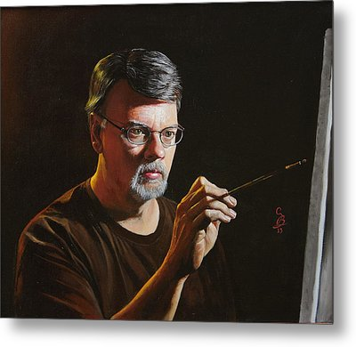 Metal Print featuring the painting At The Easel Self Portrait by Glenn Beasley