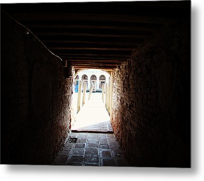 At The End Of The Tunnel Metal Print by Zinvolle Art
