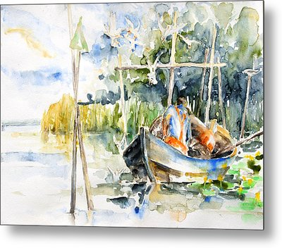 At The Fish Trap Metal Print by Barbara Pommerenke