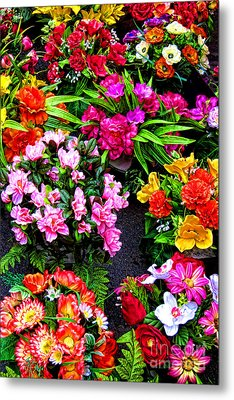 At The Flower Market  Metal Print by Olivier Le Queinec