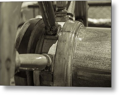 At The Helm Black And White Sepia Metal Print by Scott Campbell