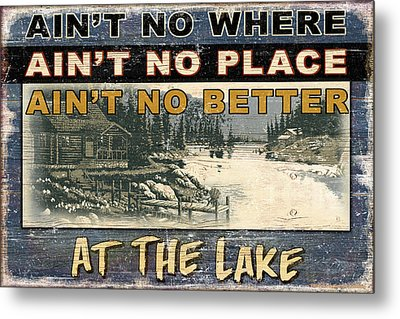 At The Lake Sign Metal Print by JQ Licensing