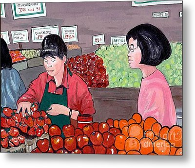 Metal Print featuring the painting At The Market by Joyce Gebauer