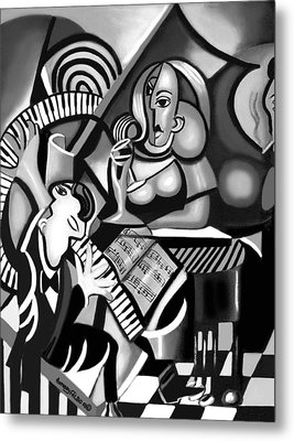 At The Piano Bar Metal Print by Anthony Falbo
