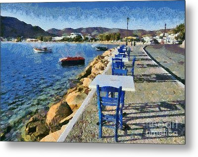 At The Port Of Ios Island Metal Print