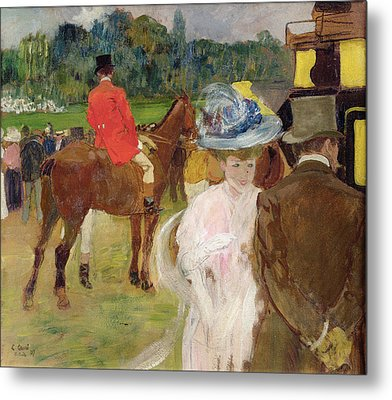 At The Races At Auteuil Metal Print by Leon Georges Carre