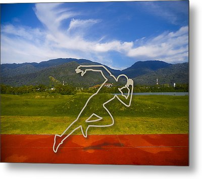 At The Running Track Metal Print by Ym Chin