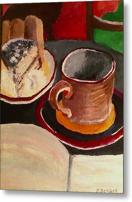 Metal Print featuring the painting At Witches Brew Tiramisu Coffee And Writing Too by Darlene Berger
