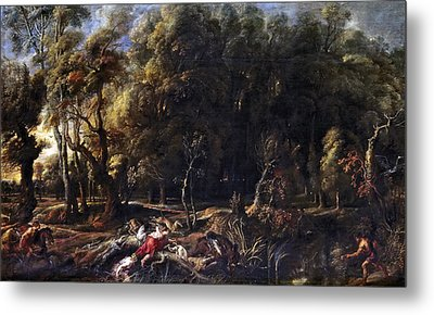 Atalanta And Meleager Hunting The Calydonian Boar Metal Print by Peter Paul Rubens