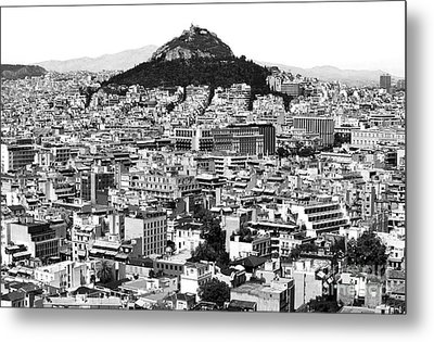 Athens City View In Black And White Metal Print
