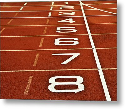 Athletics Running Track Start Finish Line Metal Print by Matthew Gibson