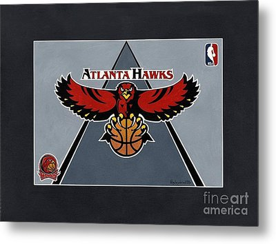 Atlanta Hawks T-shirt Metal Print by Herb Strobino