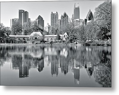 Atlanta Reflecting In Black And White Metal Print by Frozen in Time Fine Art Photography