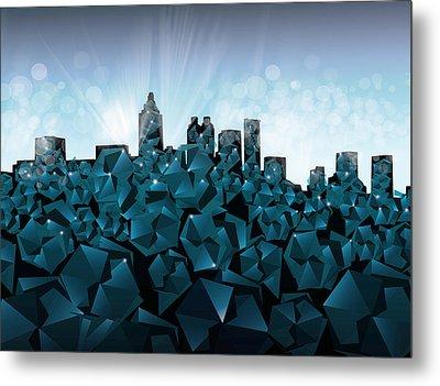 Atlanta Skyline Geometry 3 Metal Print