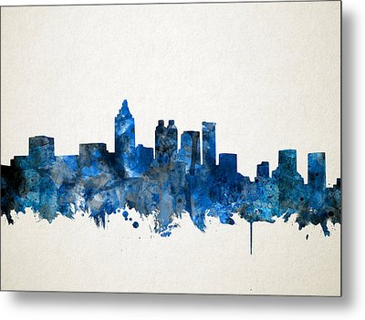 Atlanta Skyline Watercolor Blue Metal Print