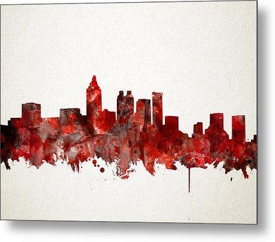 Atlanta Skyline Watercolor Red Metal Print
