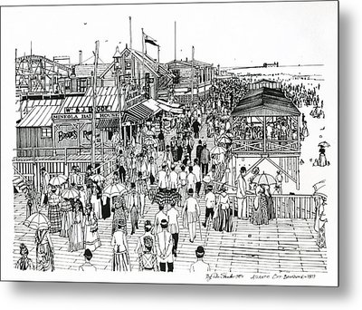 Metal Print featuring the drawing Atlantic City Boardwalk 1890 by Ira Shander