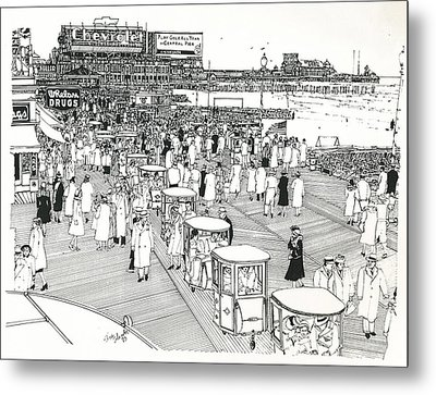 Metal Print featuring the drawing Atlantic City Boardwalk 1940 by Ira Shander