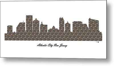 Atlantic City New Jersey 3d Stone Wall Skyline Metal Print