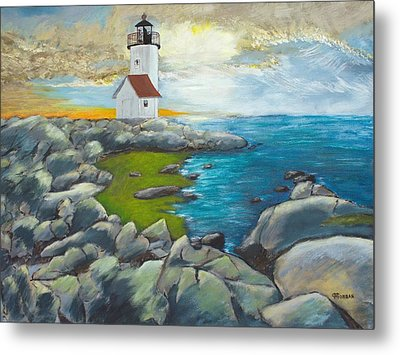 Metal Print featuring the painting Atlantic Dusk by Cynthia Morgan