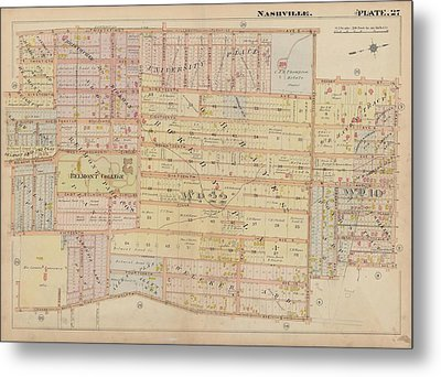 Atlas Of The City Of Nashville Tennessee Belmont Neighborhood 1908 Plate 27a Metal Print
