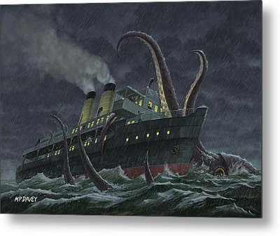Attack Of Giant Squid Metal Print by Martin Davey