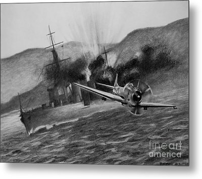 Metal Print featuring the drawing Attack On The Yura by Stephen Roberson