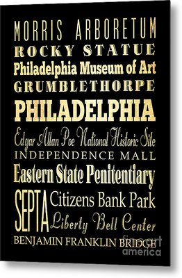 Attractions And Famous Places Of Philadelphia Pennsylvania Metal Print by Joy House Studio