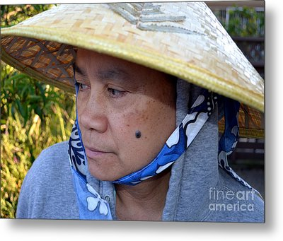 Attractive Filipina Woman With A Mole On Her Cheek And Wearing A Conical Hat Metal Print by Jim Fitzpatrick