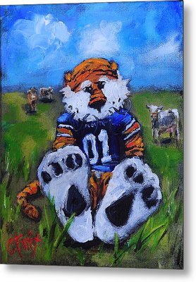 Aubie With The Cows Metal Print
