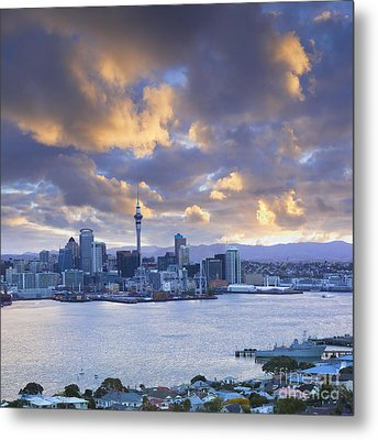 Auckland At Sunset Metal Print by Colin and Linda McKie