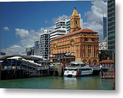 Auckland Ferry Terminal, And Historic Metal Print by David Wall