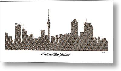 Auckland New Zealand 3d Stone Wall Skyline Metal Print