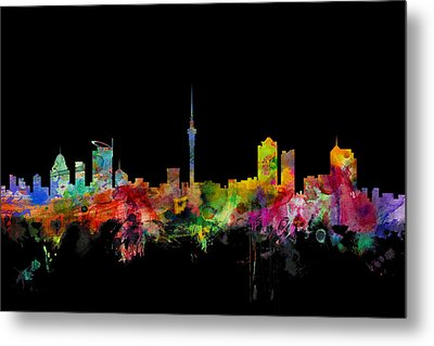 Auckland New Zealand Skyline Metal Print by Michael Tompsett