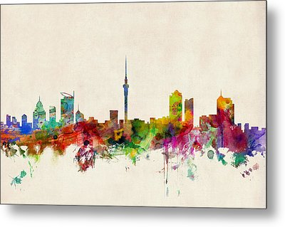 Auckland Skyline New Zealand  Metal Print by Michael Tompsett