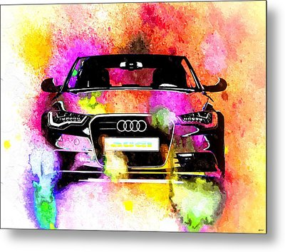 Audi A6 Avant Watercolor Metal Print