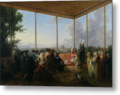 Audience Given In Constantinople By The Grand Vizier Aimali Carac For Francois-emmanuel Guignard Metal Print