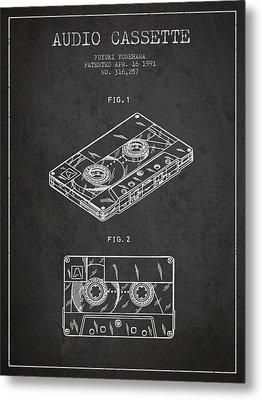 Audio Cassette Patent From 1991 - Dark Metal Print by Aged Pixel