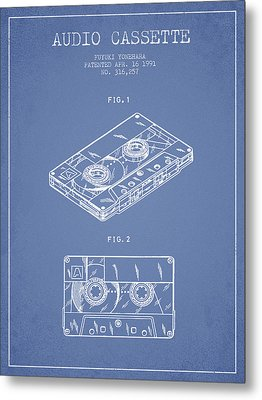 Audio Cassette Patent From 1991 - Light Blue Metal Print by Aged Pixel