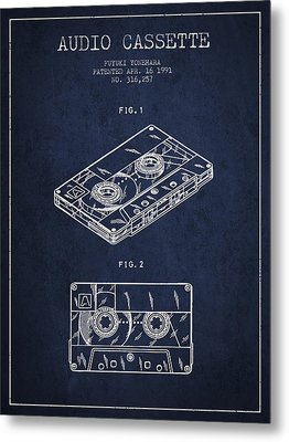 Audio Cassette Patent From 1991 - Navy Blue Metal Print by Aged Pixel