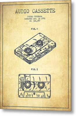 Audio Cassette Patent From 1991 - Vintage Metal Print by Aged Pixel