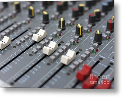 Metal Print featuring the photograph Audio Mixing Board Console by Gunter Nezhoda